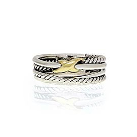David Yurman 925 Silver 18k Yellow Gold Crossover Cable X Ring Size 6.5