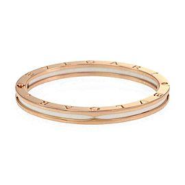 "Bvlgari B Zero 18k Rose Gold White Agate Bangle Bracelet 7.75"""