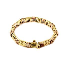 Roberto Coin Ruby 18k Yellow Gold 8mm Wide Hallow Mesh Bracelet