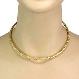 Roberto Coin Silk 18k Yellow Gold 4mm Basket Weave Flex Choker Necklace