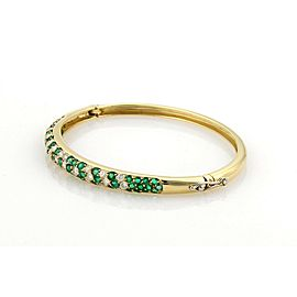 Estate 3.50ct Diamonds & Emerald 18k Yellow Gold Bangle Bracelet