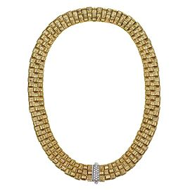 Roberto Coin Appassionata Diamond 18k Gold Basket Weave Necklace