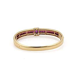 Fabulous 6.00ct Diamond & Ruby 14k Yellow Gold Bangle Bracelet
