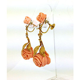 Vintage Estate 14k Y/Gold Intricate Hand Carved Coral Roses Drop Dangle Earrings