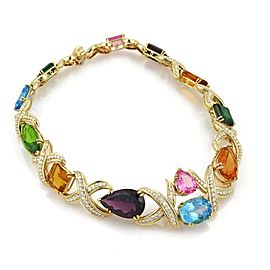 Estate 258ct Diamond Multicolor Gems 18k Yellow Gold X Link Collar Necklace