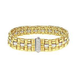 Roberto Coin Appassionata 1.18ct Diamond 18k Gold Basket Weave Bracelet