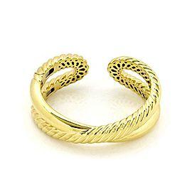 David Yurman 18k Yellow Gold Cable Crossover Hinged Cuff Bracelet
