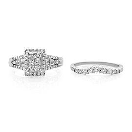 Rachel Koen 14K White Gold Diamond 1.5cttw SI1 G Engagement Set of Rings SZ9