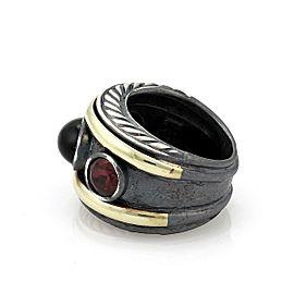 David Yurman Garnet & Onyx 14k Yellow Gold Sterling Cable Dome Band Ring