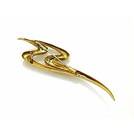 Henry Dunay 18k Yellow Gold Hand Hammered Fancy Double S Brooch Pin