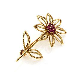 Tiffany & Co. Vintage Ruby 18k Yellow Gold Flower Brooch