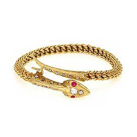 Vintage Rose Cut Diamond Ruby 18k Yellow Gold Snake Bypass Hook Bangle