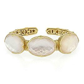 Judith Ripka Mother of Pearl Clear Quartz 18k Yellow Gold Cuff Bracelet
