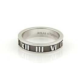 Tiffany & Co. ATLAS 18k White Gold 4mm Wide Band Ring Size 5