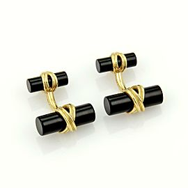 Tiffany & Co. 18k Yellow Gold & Onyx Column Post Design Cufflinks