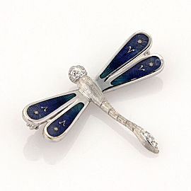 $4,380 New Faberge Germany 18K White Gold Dragonfly Pin Brooch