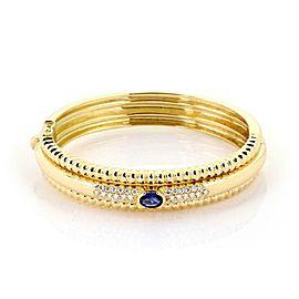Piaget 1.95ct Diamond & Sapphire 18k Yellow Gold Triple Row Fancy Bracelet