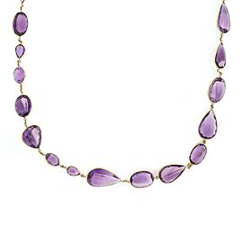 "Estate 371Carats Amethyst Assorted Shape Size All Around 18k Gold Necklace 37"" L"