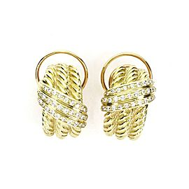 David Yurman Diamond 14k Yellow Gold Triple Cable Curved Huggie Earrings