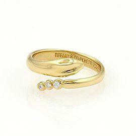 Tiffany & Co Peretti Diamond 18k Yellow Gold Snake Bypass Band Ring Size 5