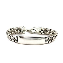 David Yurman Sterling Silver ID Bar & Double Box Chain Bracelet