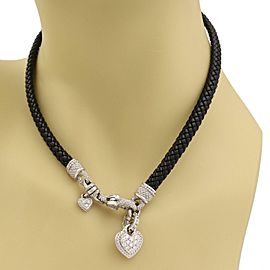 Judith Ripka Diamond 18k White Gold Heart Clasp Pendant Weave Cord Necklace
