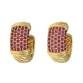 David Yurman Pink Sapphire 18k Yellow Gold Cable Hoop Earrings