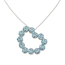Pasquale Bruni 6.00ct Blue Tourmaline 18k Gold Floral Heart Pendant Chain
