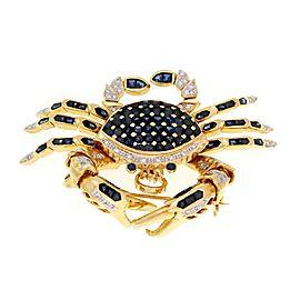 Fabulous 5.75ct Diamond & Sapphire Animated Crab Pendant/Brooch