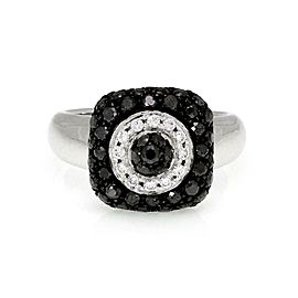 Chopard 1.15ct Black & White Diamond 18k White Gold Ring Size - 6
