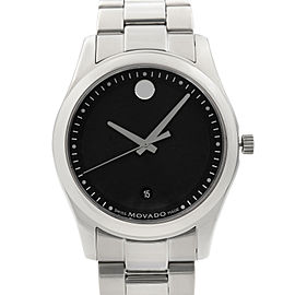 Movado Sportivo Museum Steel Black Concentric Dial Quartz Mens Watch 0606481