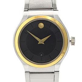 Movado Quadro Museum Two Tone Steel Black Dial Quartz Ladies Watch 0606955