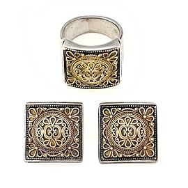 64559 Konstantino 18k Yellow Gold 925 Silver Floral Clip On Earrings & Ring Set