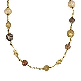 Judith Ripka Truffle Diamonds Sapphires & Pearls 18k Gold Bahama Mama Necklace