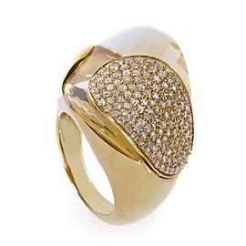 Superoro 18K Yellow Gold Citrine & Diamond Ring Size 7