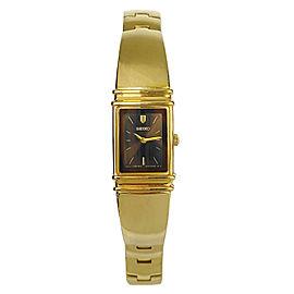 Seiko Jewelry Clasp Gold-Tone Brown Dial Bangle Womens Quartz Watch SUJG12
