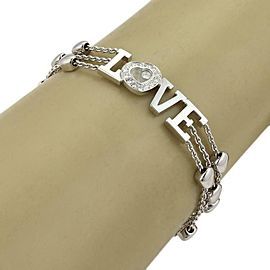 66006 Chopard Happy Diamond Love Enhancer 18k WGold 3 Row Chain Bracelet Cert
