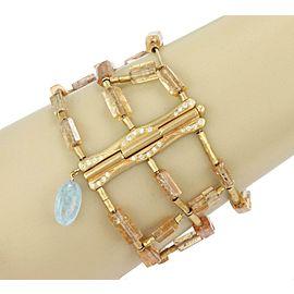 H.Stern Diamond & Gems18k Yellow Gold 3 Strand Wide Bracelet w/Box