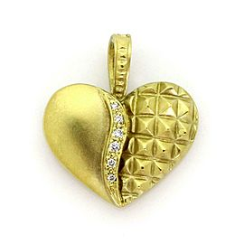 Judith Ripka Diamond 18k Yellow Gold Fancy Heart Pendant