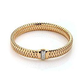 Roberto Coin Diamond 18k Rose Gold Basket Weave 9.5mm Wide Flex Bracelet