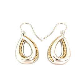 Tiffany & Co. Vintage 18k Gold 925 Silver Pear Shape Hook Dangle Earrings