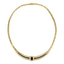 Estate 6.25ct Diamond & Sapphire 18k Yellow Gold Collar Necklace