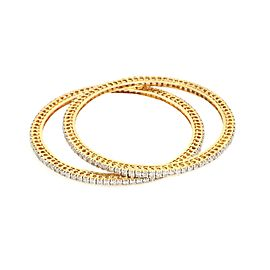 Stunning Full Circle 11ct Diamond 18k Yellow Gold Set of 2 Bangles