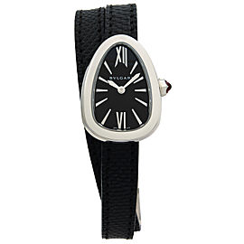 Bvlgari Serpenti Steel Double Wrap Leather Black Dial Quartz Ladies Watch 102782