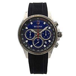 Bulova Marine Star Steel Rubber Chrono Blue Dial Mens Quartz Watch 98B314