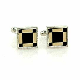 Louis Vuitton Cavalier Onyx Square Sterling Silver Stud Cufflinks