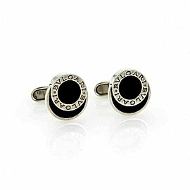 Bvlgari Onyx Engraved Sterling Silver Fancy Round Button Stud Cufflinks