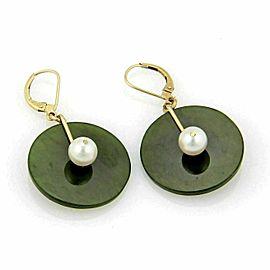 Jade & Pearls 14k Yellow Gold Disc Shape Dangle Earrings