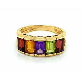 Multicolor Rainbow Gems 14k Yellow Gold Band Ring