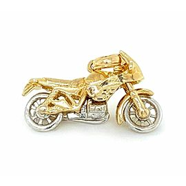 3D Motorcycle 14k Two Tone Gold Charm Pendant